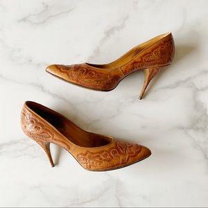 Vintage ArtMex Hand Tooled Leather Heels